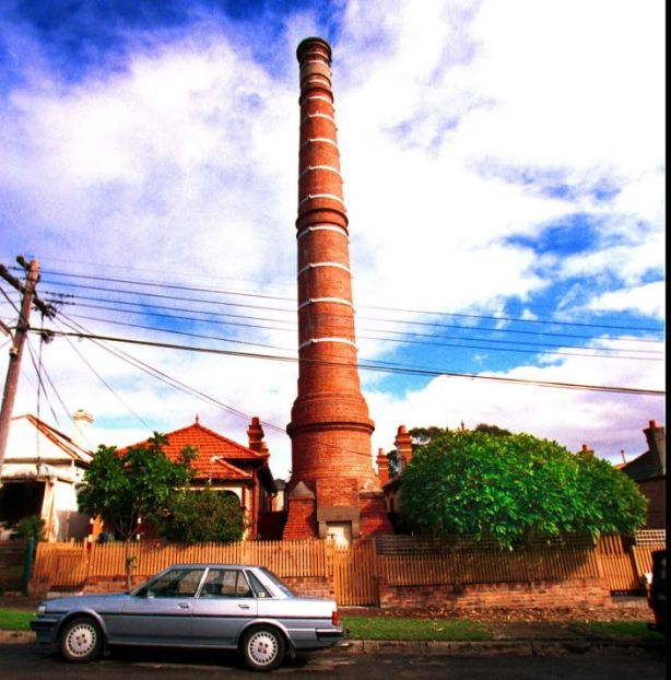 An early 2000s photo of the sewerage stack in Marrickville.