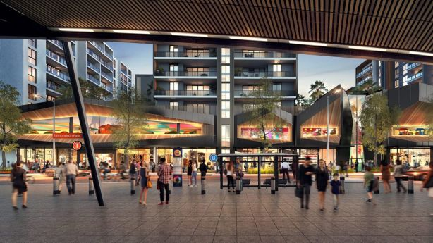 Artist's impression of the future of Edmondson Park train station and adjacent town centre Ed.Square. Photo: Artist's impression