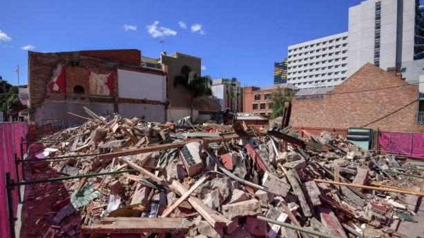 All that was left of Carlton's Corkman Irish Pub immediately after its illegal demolition. Photo: Eddie Jim