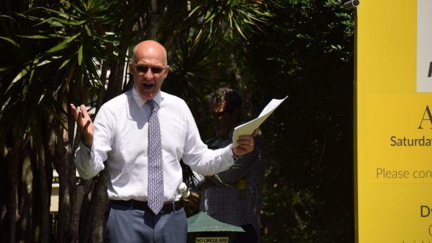 Phil Parker calling the Ascot auction. Photo: Jim Malo