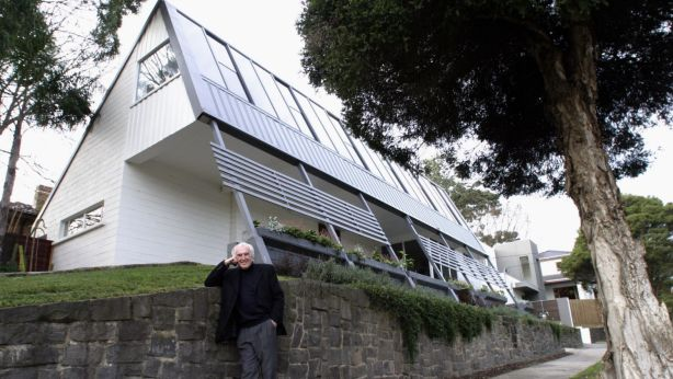 McIntyre pictured in 2003 in front of his first project, 2 Tauras Street,  Balwyn North. Photo: Gary Medlicott