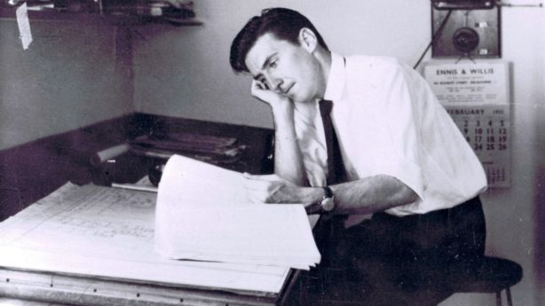 Peter McIntyre at the drawing board in the 1950s. Photo: Fairfax Media