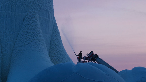 A plastic mould was inflated and ice was sprayed around it with hoses. Photo: Structural Ice