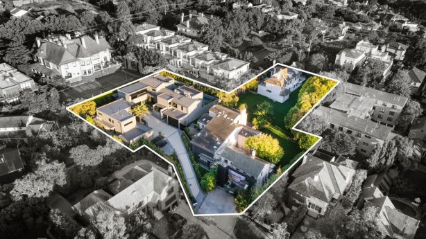 Toorak's Evans Court estate has six mansions on seperate dwellings. Photo: Abercromby's