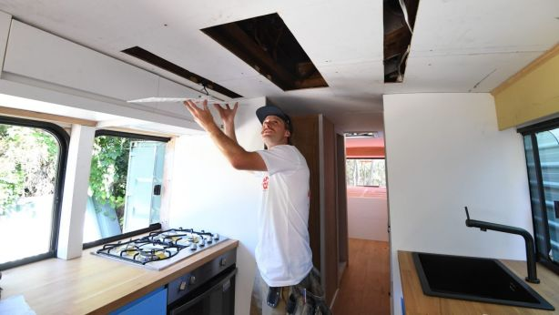 Mark Atkins converts buses and vans to permanent homes for people. Photo: Peter Rae