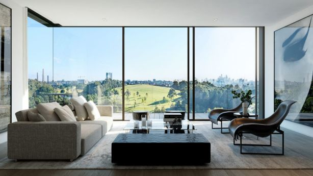 An artist impression of the view from an apartment living room.
