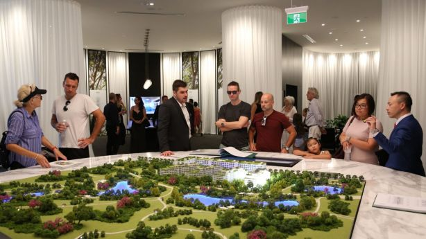 Steady streams of Sydney apartment buyers at the launch of One Sydney Park. Photo: Supplied