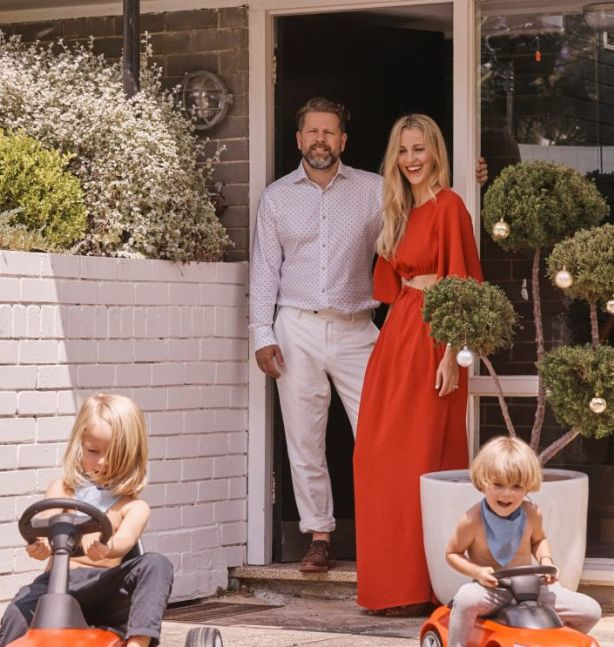 Tim Ross and family at his modernist Sydney home. Photo: Trevor King