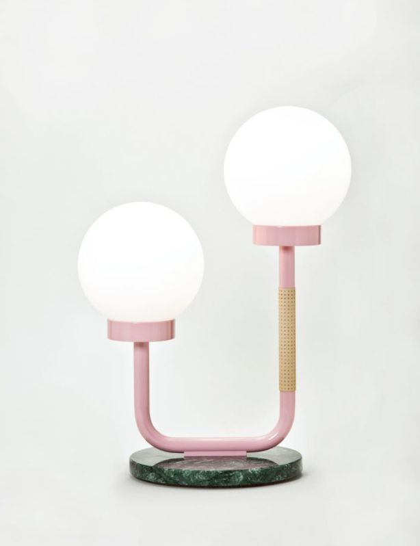 Little Darling Lamp by Maria Gustavsson for Swedish Ninja melds a deep, classic marble base with a kitsch-inspired, pastel-pink handle on Modern Memphis-style illumination that serves to capture the eye and arrest the design senses in such a way as to make it hyper now. Photo: Supplied