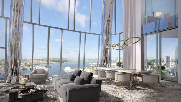 An artist's impression of an apartment in One Barangaroo, which is part of Crown's casino development.