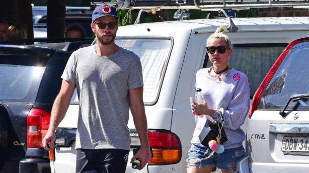 Liam Hemsworth and Miley Cyrus in Byron Bay. Photo: Matrix