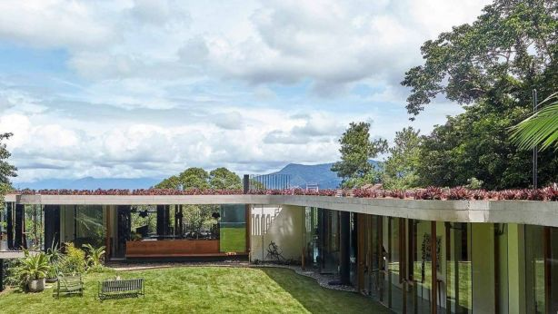 A rooftop terrace adds an extra living area with 360 degree views to the mountains and into the forest.