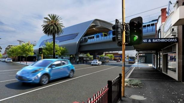 The government's solution: a rail overpass, elevating the train line above the road traffic. Photo: Supplied