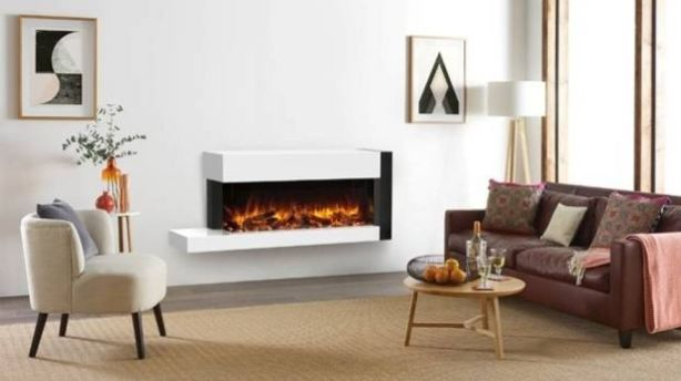 Hang on the wall electric fires can be two or three sided and have floating shelves such as those in the Skope Trento Suite from The Fireplace. Photo: The Fireplace