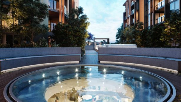 A focal point of the design is Oculus, a water feature that looks like a circular glazed pool at the garden level. Photo: Artist Impression