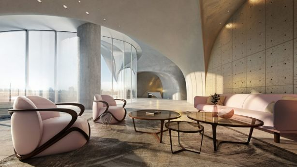 Dramatic arches and vaulted ceilings make a statement in the lobby. Photo: Artist Impression