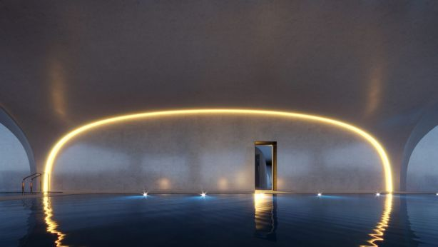 The first-floor residents' pool echoes the shapes found in eroded rock caves. Photo: Artist Impression