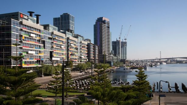 Apartment towers in Docklands are home to hundreds of Airbnb listings. Photo: Eliana Schoulal