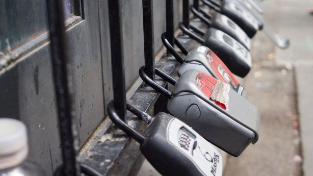 Key lockers outside an apartment tower in Melbourne's CBD. Photo: Elke Meitzel