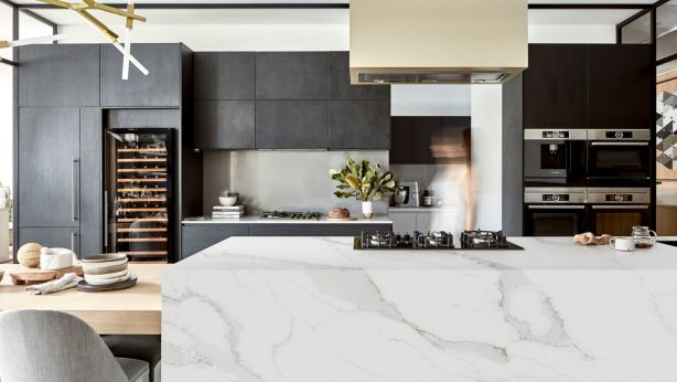 Engineered stone is a more durable and affordable option, great for busy and families. Photo: Laminex