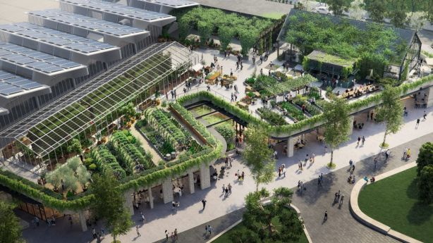 Artist's impression of the sustainable shopping centre and urban farm planned for the former Burwood Brickworks site. Photo: Frasers Property Australia