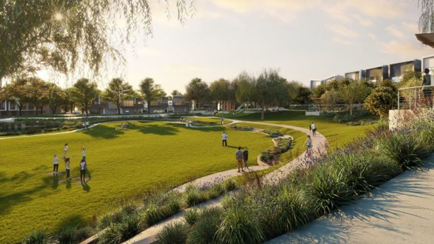 A CGI render of proposed open space in the Brickworks development. Photo: Frasers Property Australia