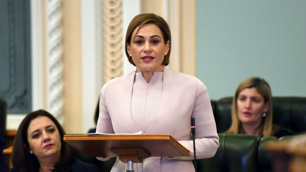 Queensland Treasurer Jackie Trad delivering the 2018 Budget.