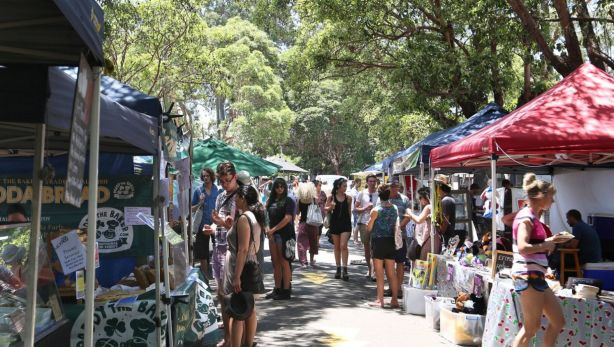 Crowds peruse the Marrickville Markets on a sunny Sunday afternoon. Photo: James Alcock