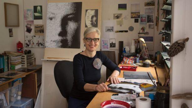 Artist, Pia Larsen, in her studio, behind her Stanmore home. Photo: Quentin Jones