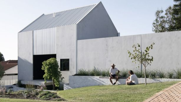 The home is made of recycled concrete and brick. Photo: Ben Hosking