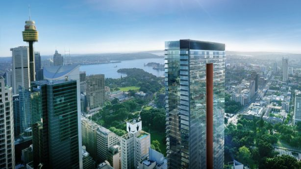 The Greenland Centre Sydney, which is due for completion in 2020, will be the tallest residential tower in the harbour city, sitting at 235 metres high or 67 floors. Photo: Anna Anderson