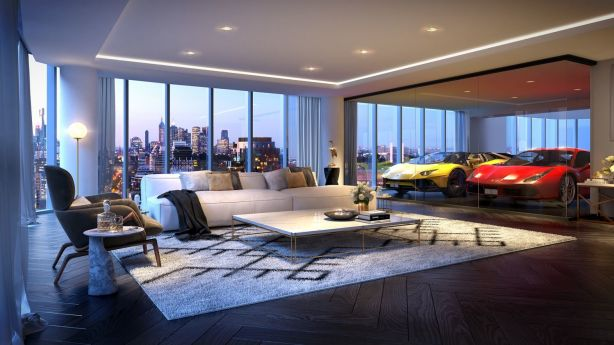 The 19 apartments in Neue Grand will all feature a glass sky garage visible from the lounge room. Photo: FloodSlicer Pty Ltd
