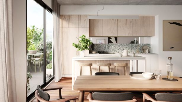 The kitchen at Breese Street – a Brunswick development which is 7.5+ star rated. Photo: Milieu