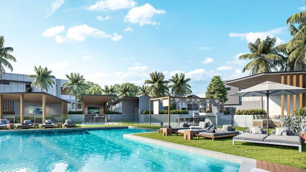 The Gold Coast lifestyle: the pool at the Vue Terrace Homes. Photo: Robina Group