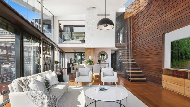 The light-filled living area at 247 Kent Street, Teneriffe. Photo: McGrath New Farm