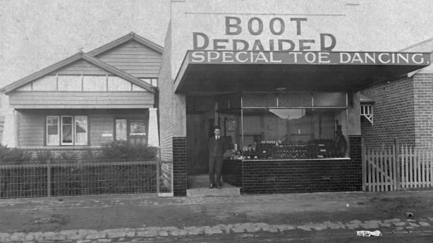 Giuseppe Materazzo outside his shoe shop in the 1920s. Photo: Supplied