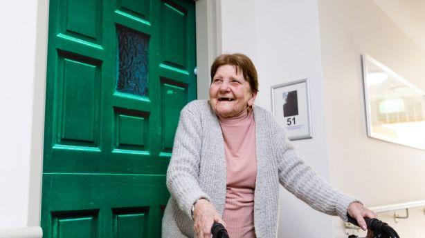 Doreen Brazewell's green door resembles the door to her terrace house in England. Photo: Steven Woodburn