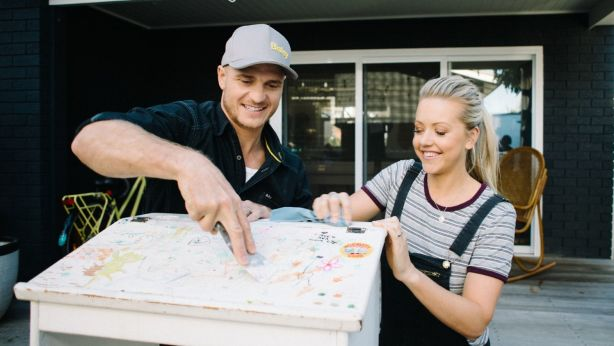 Former contestants of The Block Kyal and Kara Demmrich said upcycling old furniture improves its resale value. Photo: Supplied
