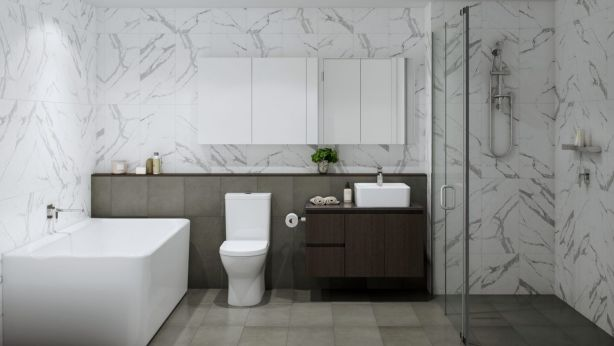 Bathrooms at The Grounds are functional and have a luxe feel. Photo: Independent Property Group