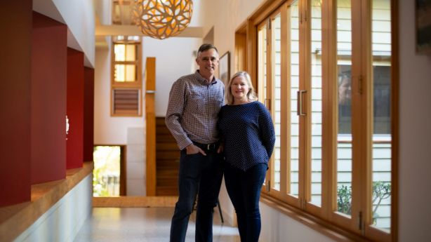 Ben and Shelley Wilson have lived in the internationally acclaimed 'Hill End Eco House' for eight years. Photo: Tammy Law