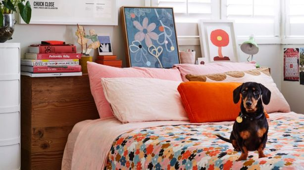 The bedroom of Rachel Castle's daughter's, featuring Sydney the sausage dog. Photo: Caitlin Mills