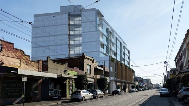 Renders of the proposed development at the site of the Mirabella showroom in Lygon Street, Brunswick East. Photo: Buchan Architects