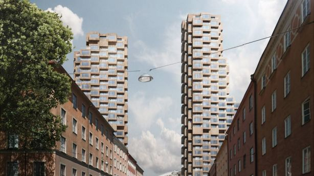 Norra Tornen are a pair of skyscrapers that will rise 30 and 35 storeys above Stockholm. Photo: Oscar Properties