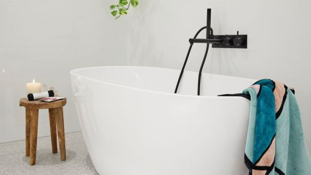 Courtney and Hans took out the top prize with this stunning main bathroom. Photo: Channel Nine