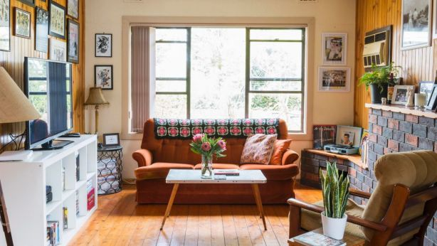 Joel and Bethany Penman's warm and quirky 1970s-style house. Photo: Dan Soderstrom for Rented Space