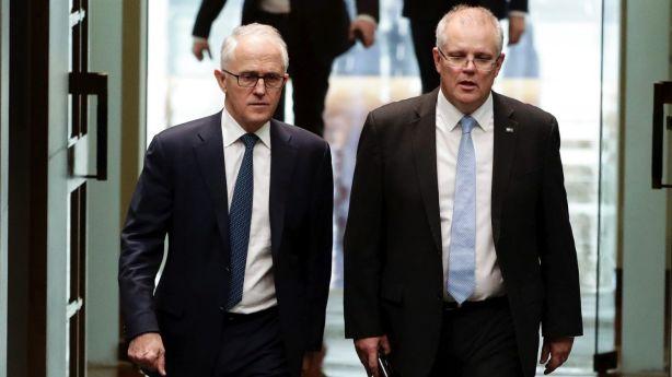 Malcolm Turnbull and Scott Morrison arrive in Parliament on Thursday Photo: Alex Ellinghausen