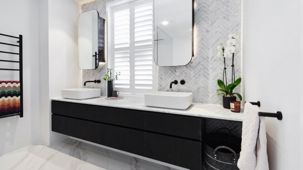 Kerrie and Spence's master ensuite won last week's room reveals, with a score of 27.5. Photo: Channel Nine