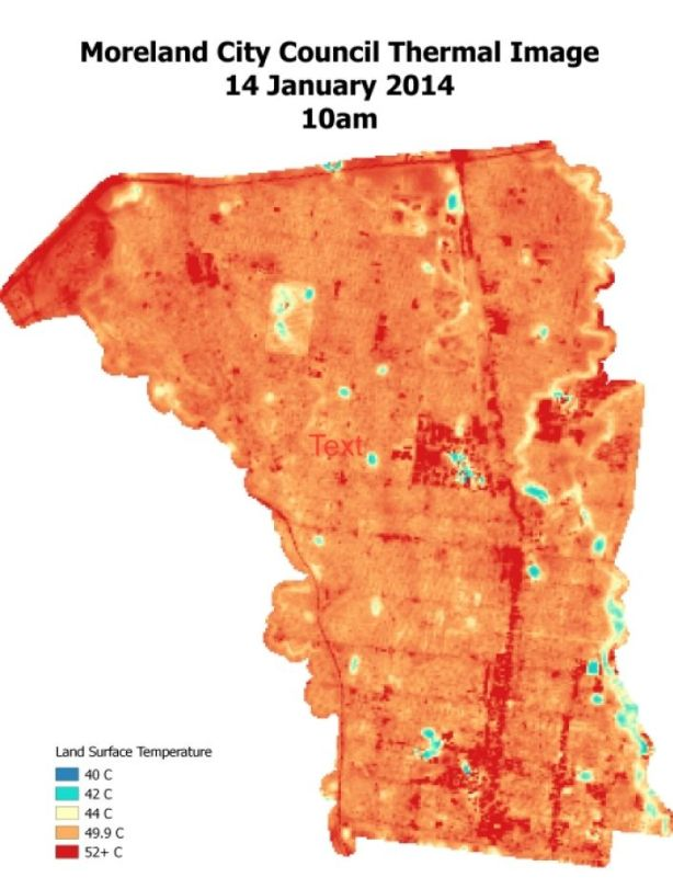 The urban heat island effect in Moreland municipality in 2014. Photo: Supplied