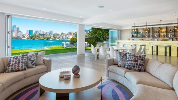 Bill Wavish and his wife Vonnie have listed their harbourfront trophy home at the end of Kurraba Point. Photo: Supplied