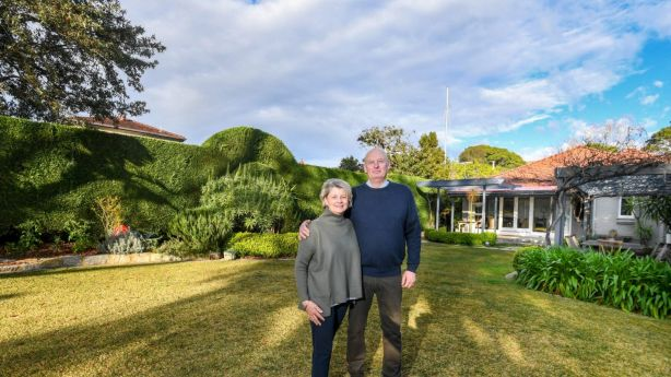 Vendors Mary-Ellen Crowley and Tig Crowley, pictured in their backyard, are not worried about selling in the cooling market as the suburb of Willoughby has been holding up well. Photo: Peter Rae.